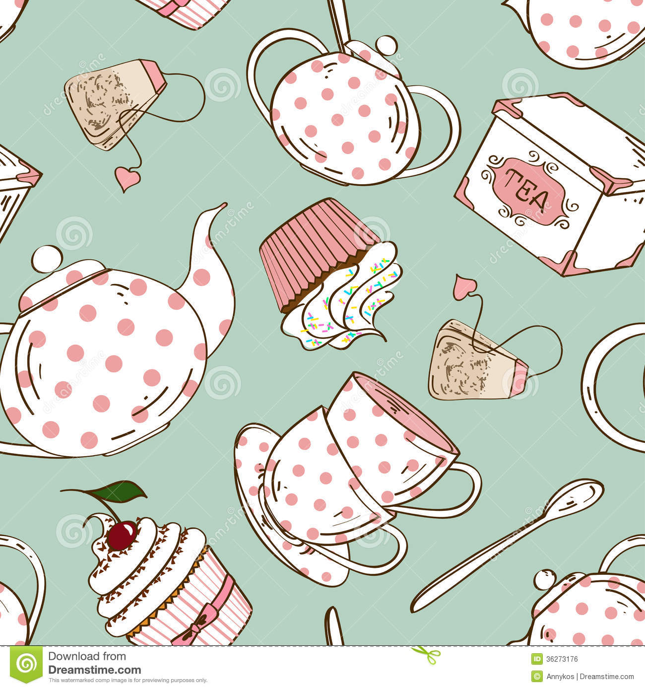 seamless pattern of tea set and cupcakes royalty free