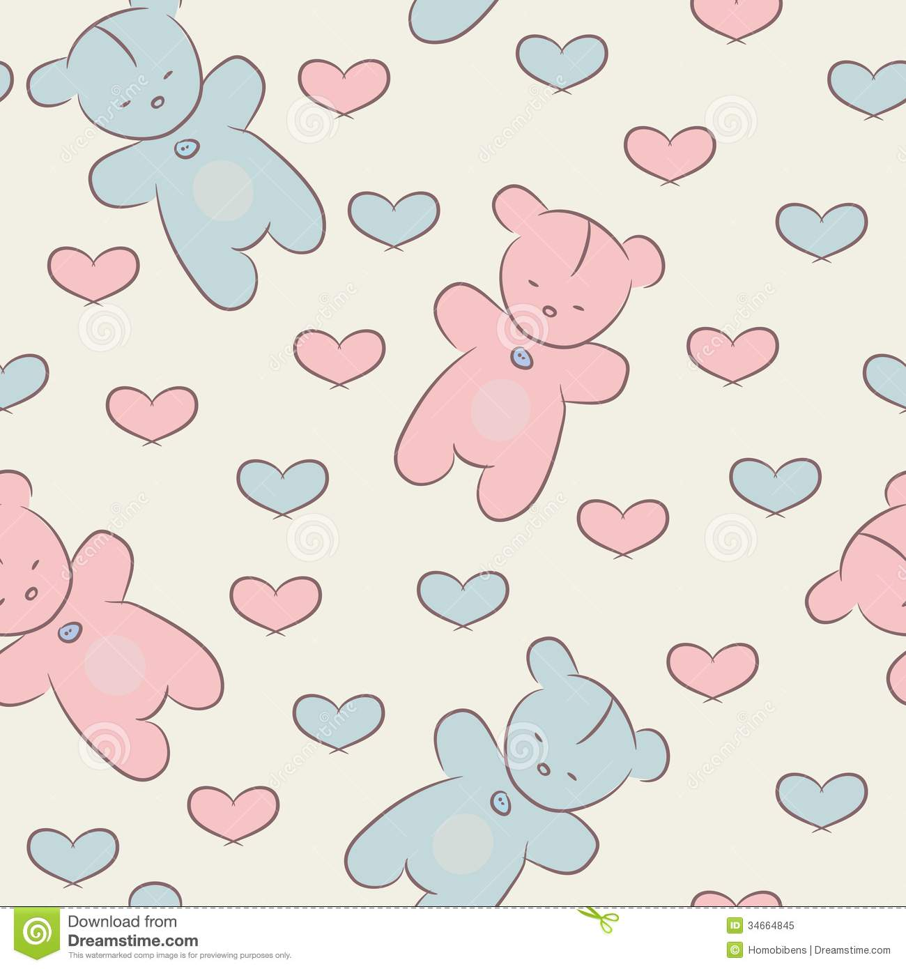 Seamless Pattern With Teddy Bears And Hearts. Royalty Free Stock Photo ...