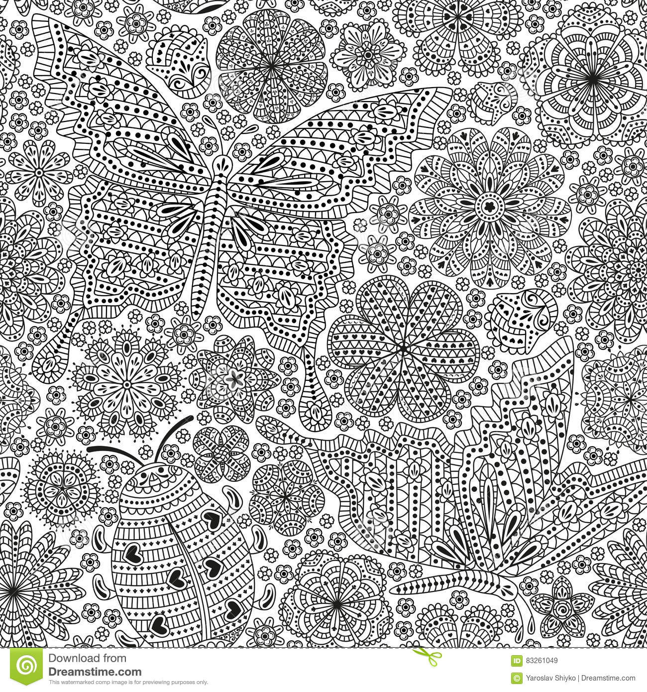 seamless pattern or template with butterfly ladybug and many ornate