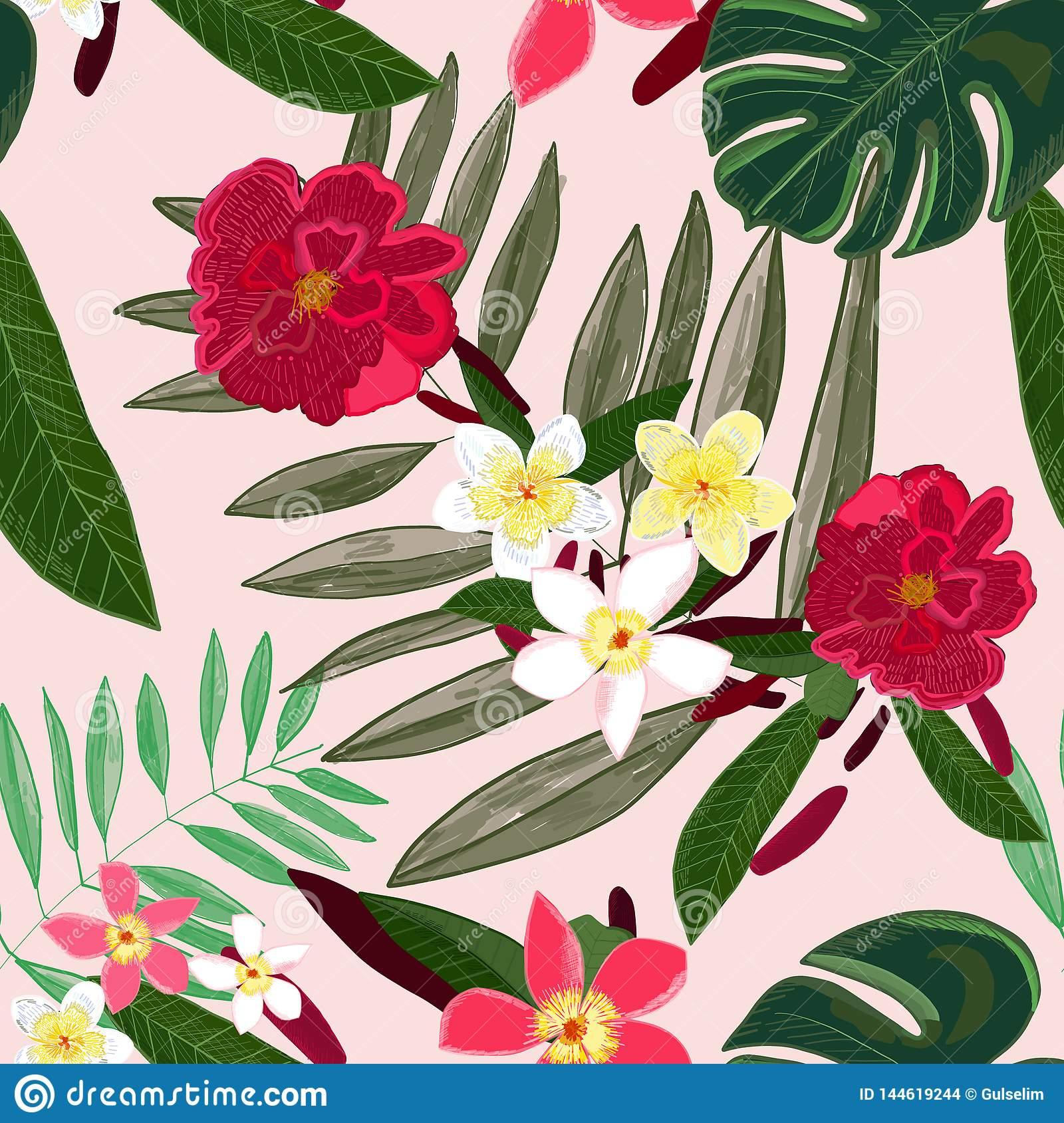Seamless Pattern For Textile Design Red Tropical Flowers