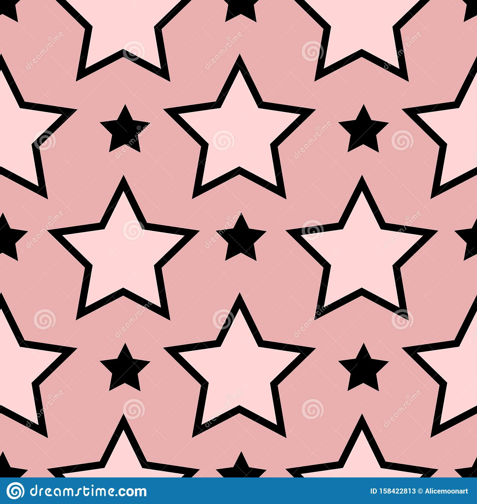 Seamless Pattern Texture With Line Drawing Stars.