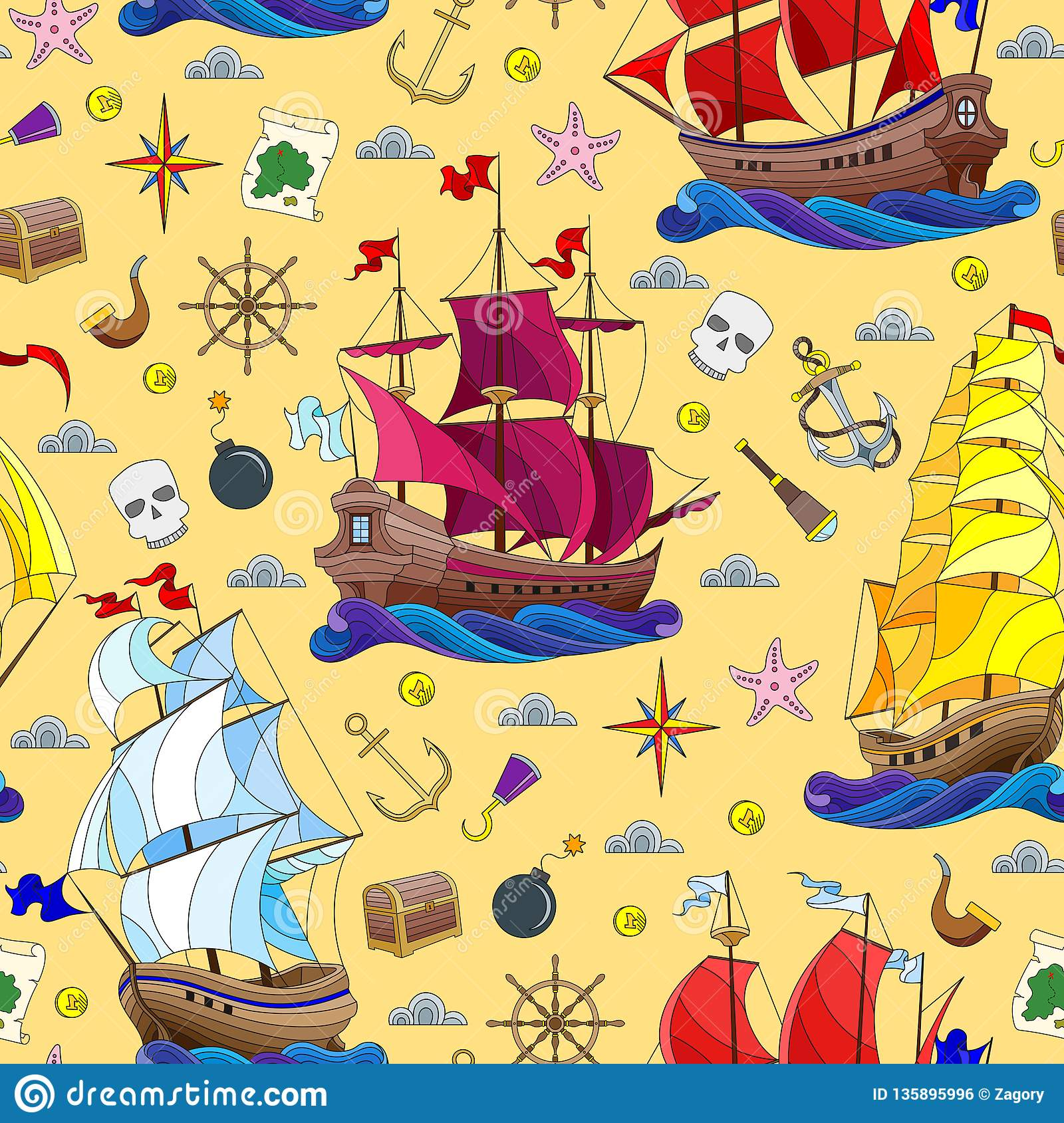 Seamless illustration on the theme of sea travel, sailboats and ship`s tackle on a yellow background