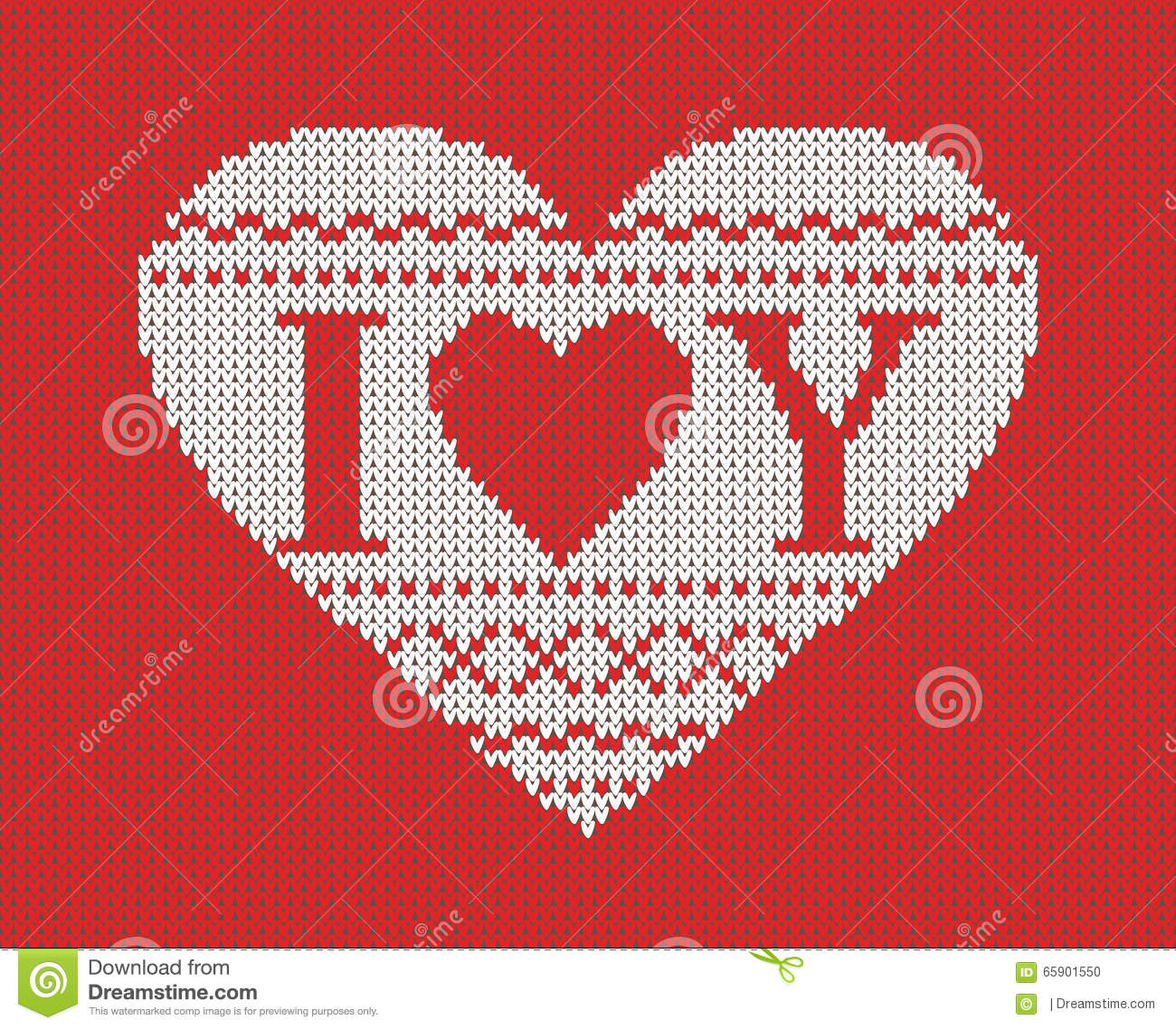 Seamless pattern on the theme of Valentine s Day with an image of the Norwegian patterns and hearts. Wool knitted