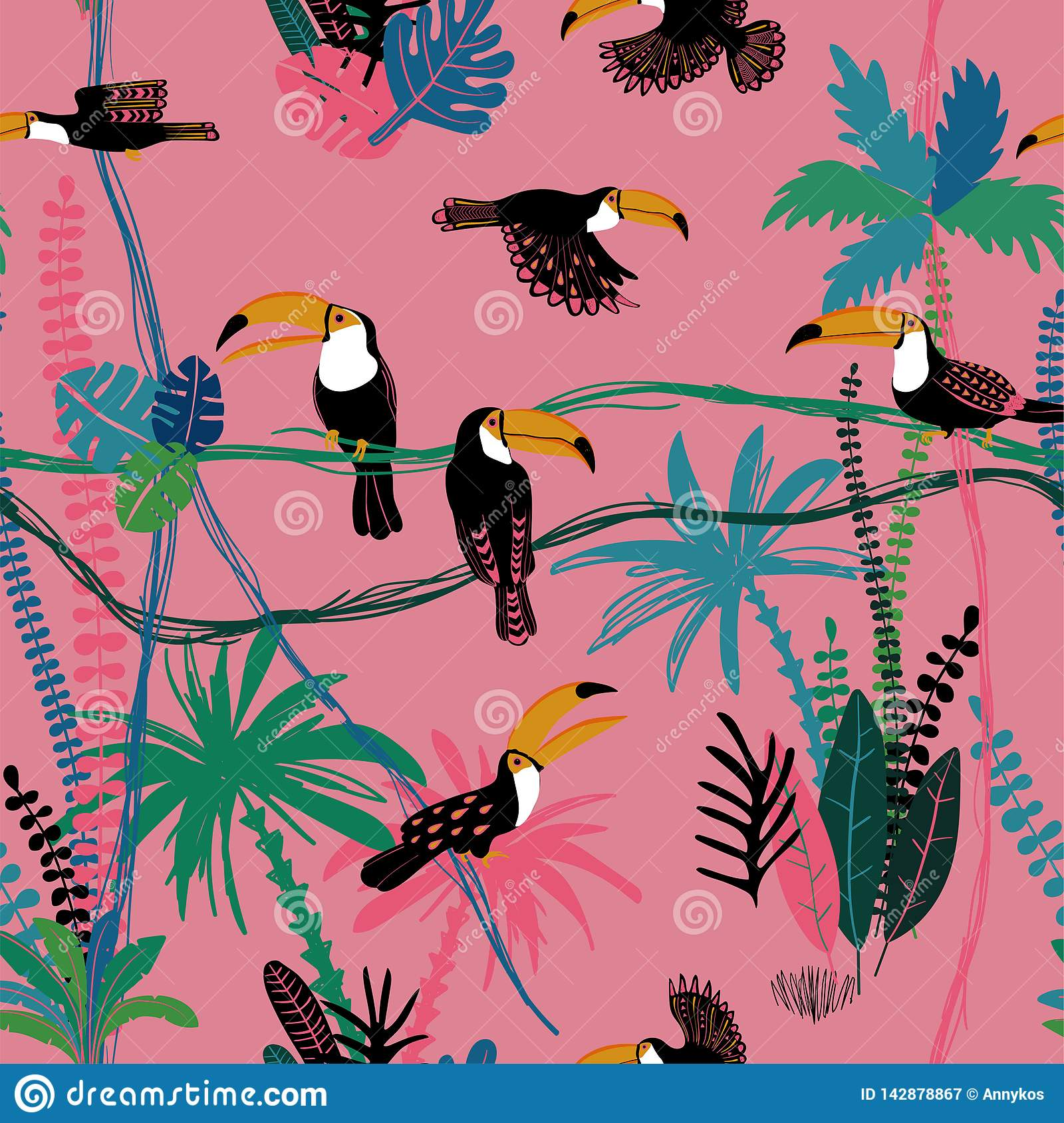 Seamless pattern With Toucan Birds In The Jungle
