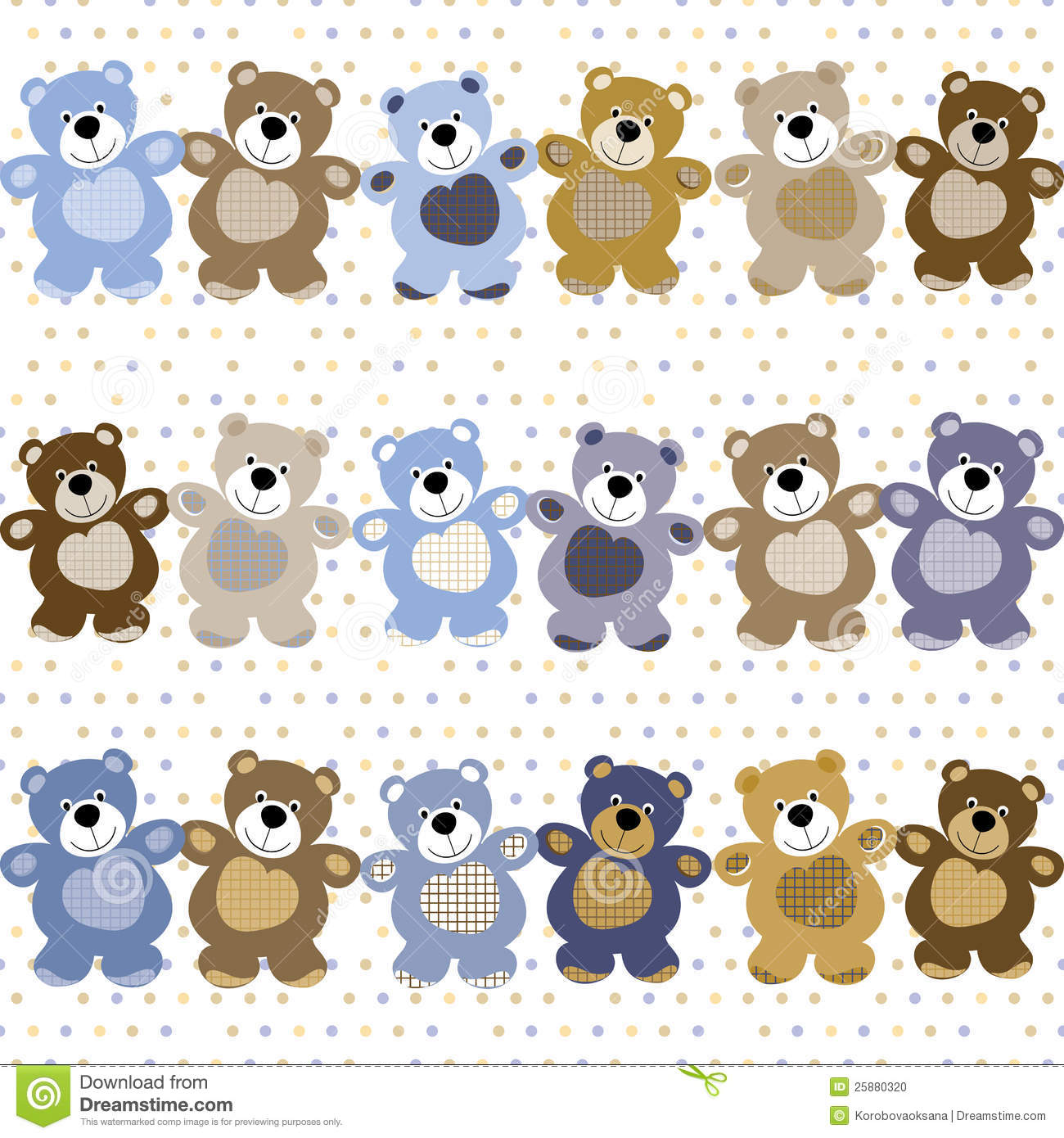Seamless Pattern Of A Toy Teddy Bear Stock Vector Illustration Of