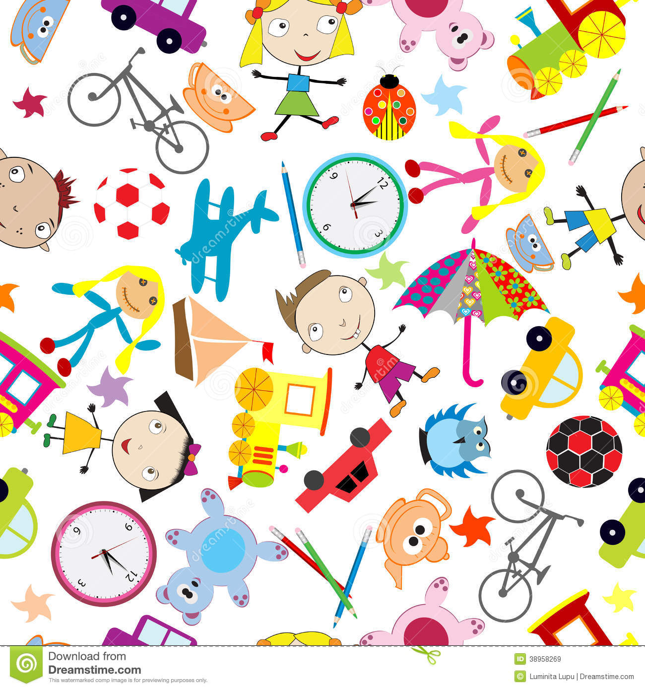Seamless Pattern With Toys, Background For Kids Stock ...