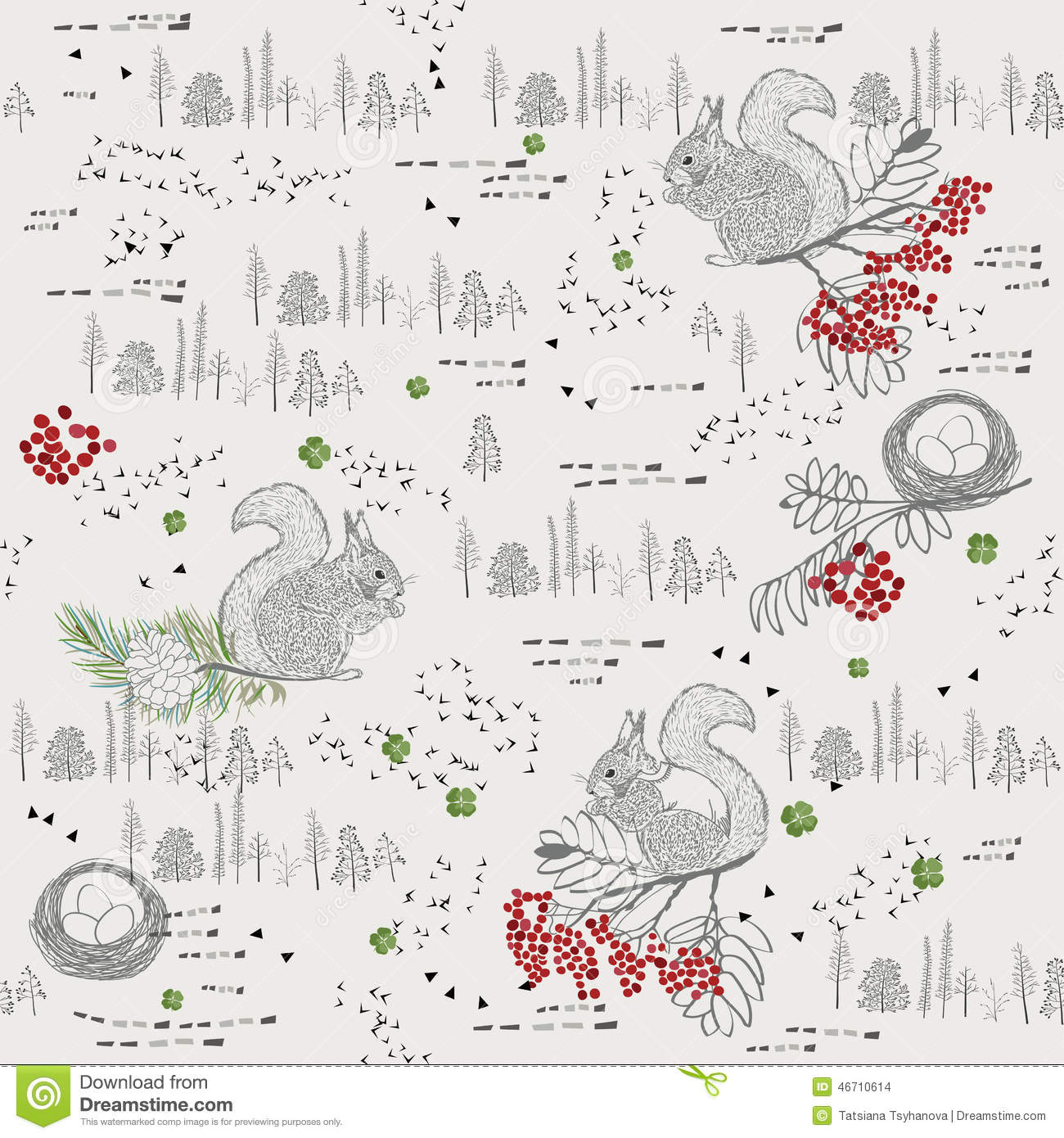 Seamless pattern with trees, shrubs, foliage, animals on light background in vintage style.