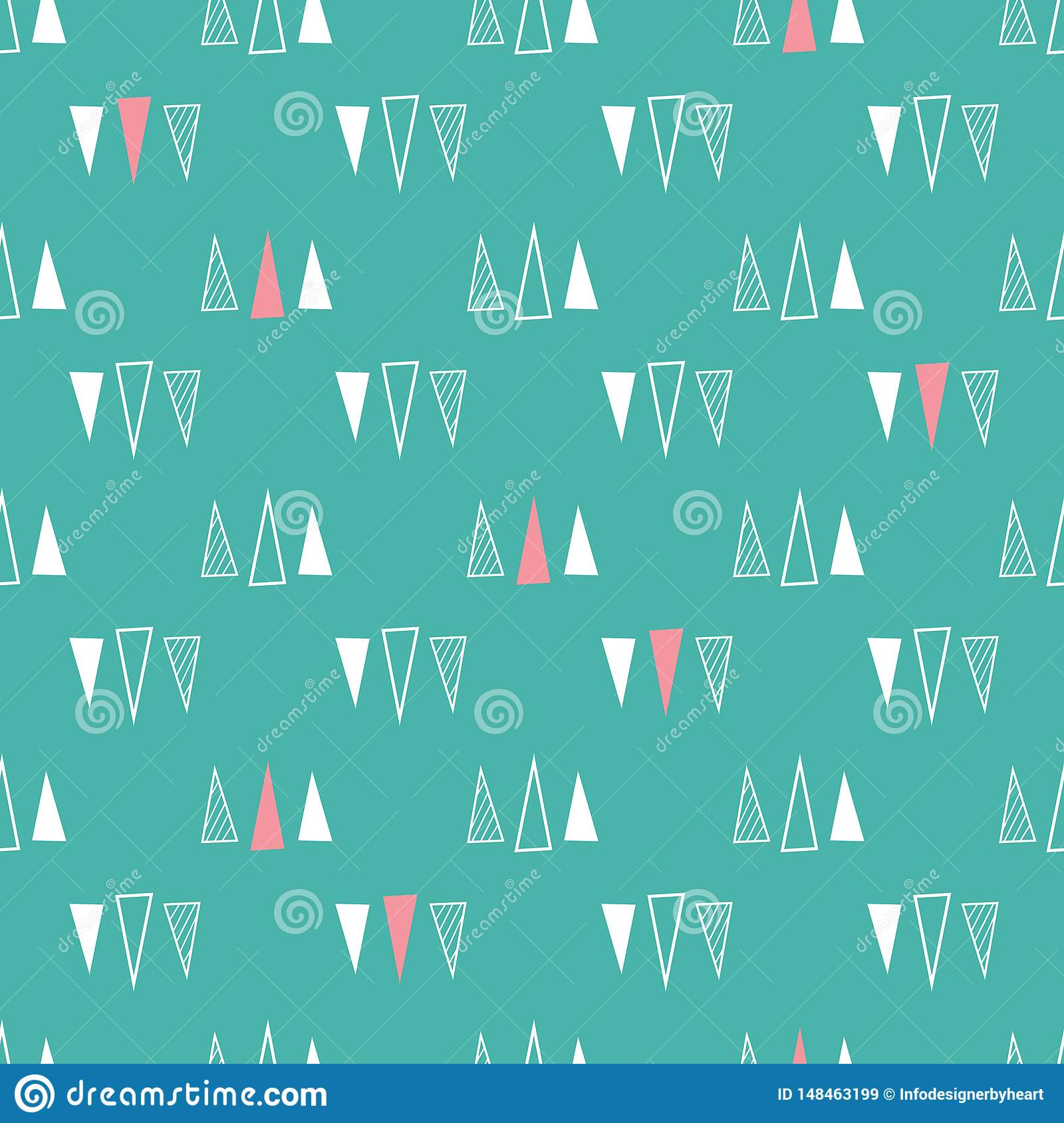 Seamless pattern of triangles on a mint green background.