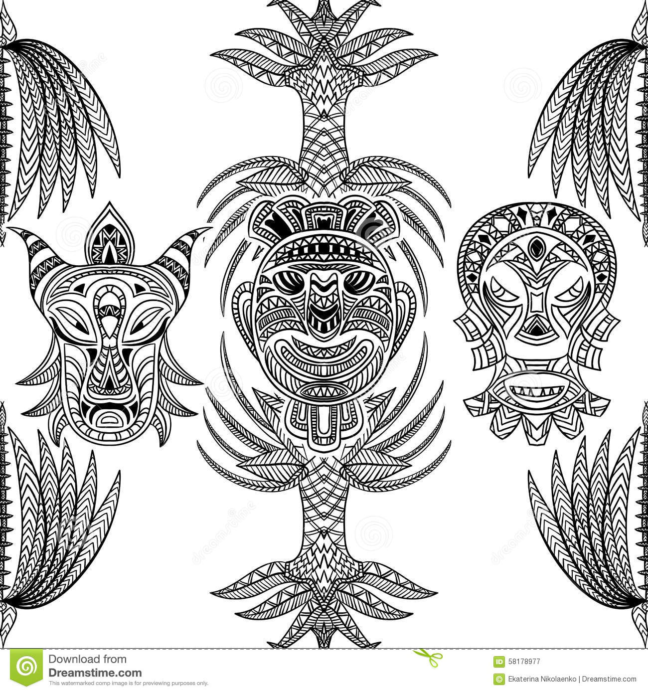 Seamless tiki hawaii pattern cartoon vector for Aztec mask template