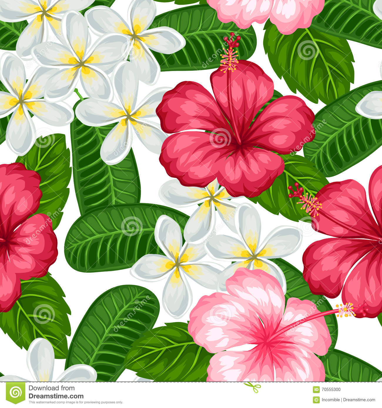 Seamless Pattern With Tropical Flowers Hibiscus And ...