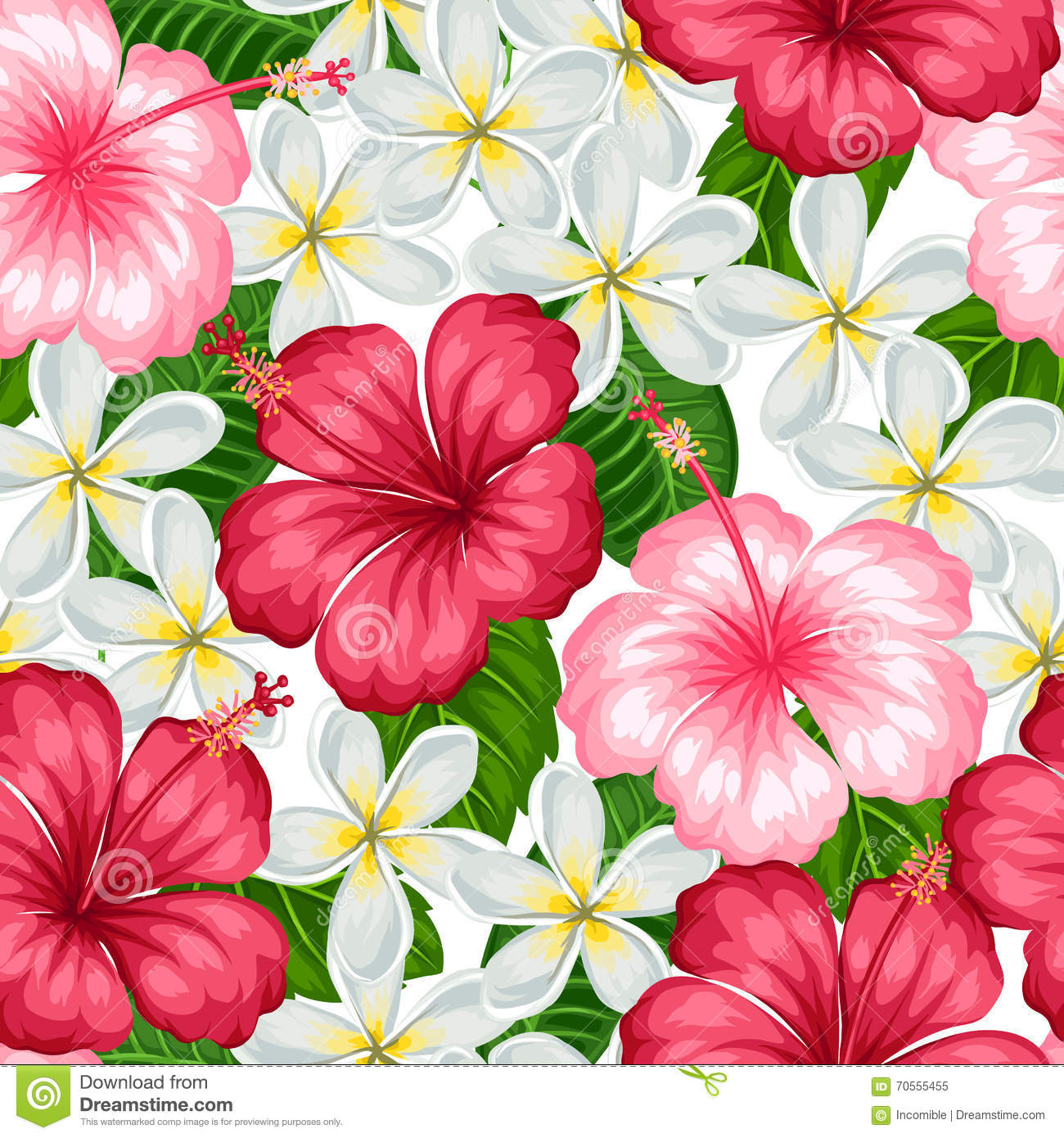 Seamless pattern with tropical flowers hibiscus and plumeria seamless pattern with tropical flowers hibiscus and plumeria background made without clipping mask easy to use fabric decorative izmirmasajfo
