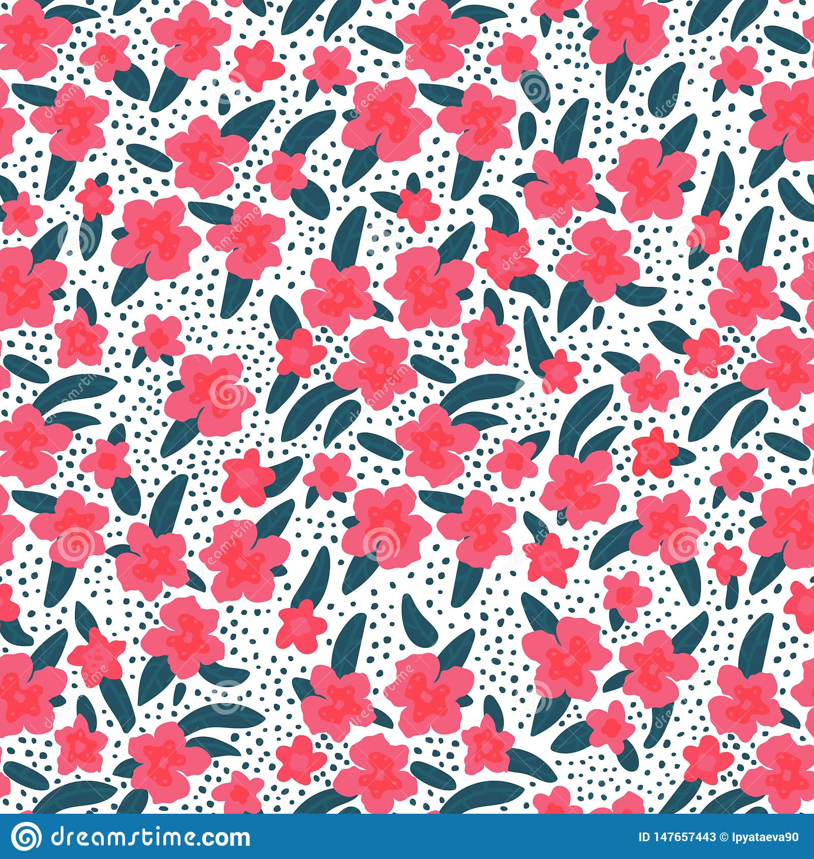 Seamless pattern of tropical flowers and leaves on a white background. Vector illustration in hand drawn flat