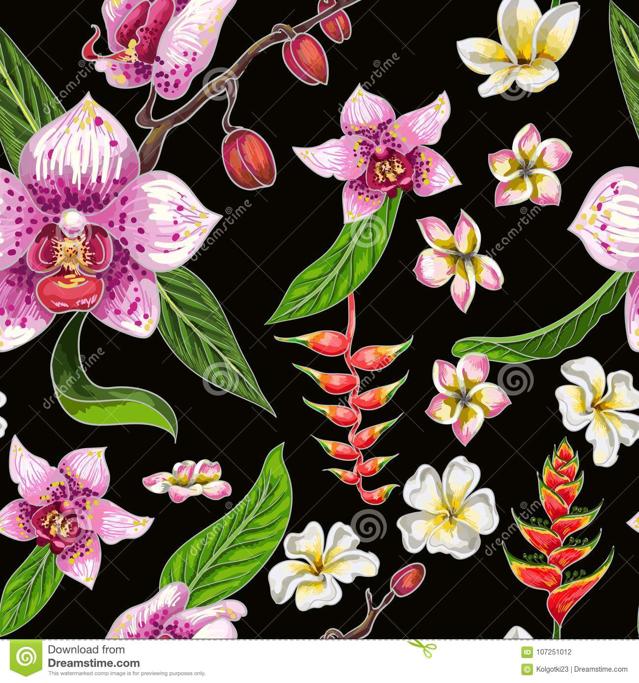 Seamless Pattern With Tropical Flowers Orchid Plumeria And