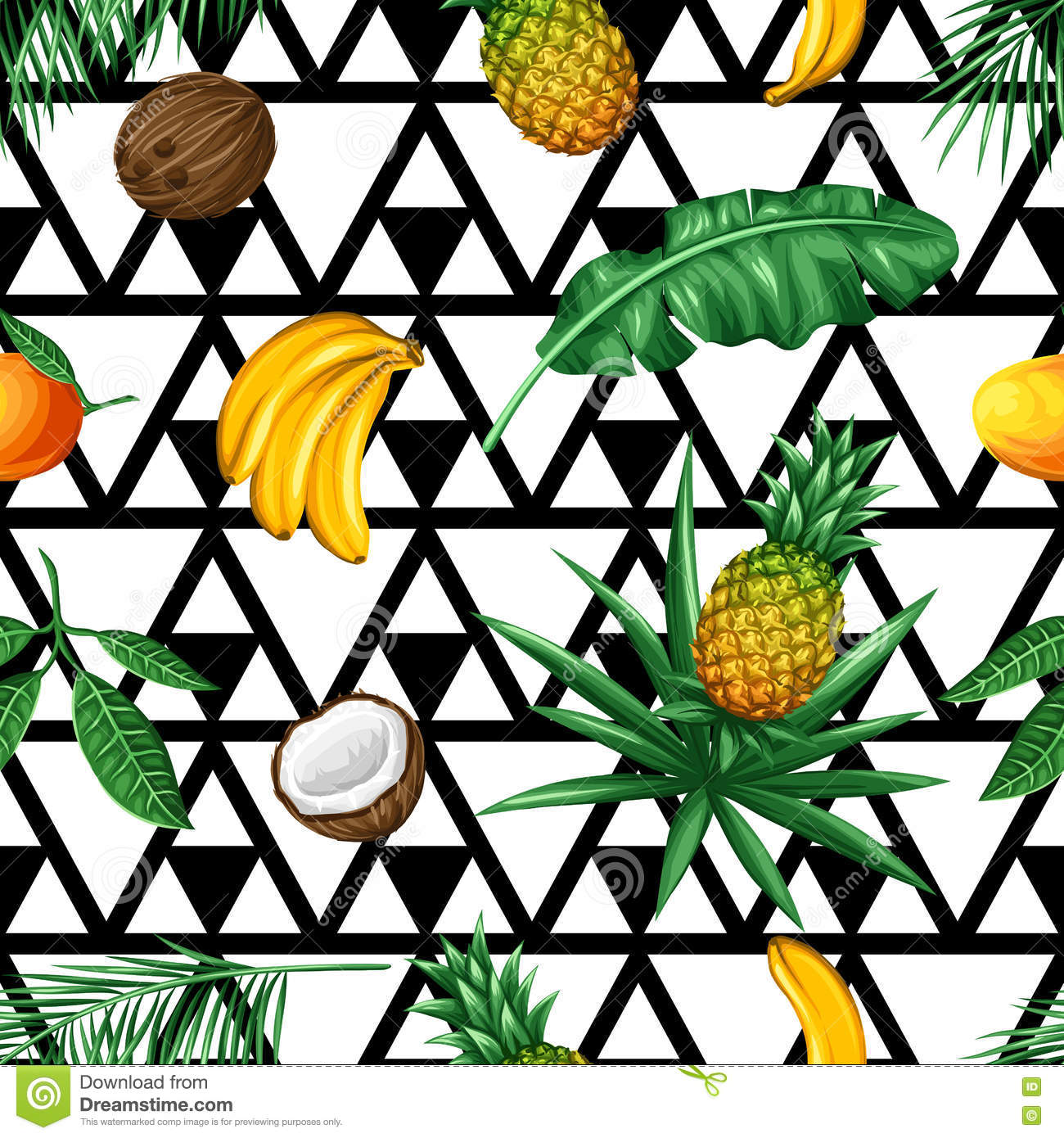 Seamless Pattern With Tropical Fruits And Leaves Background