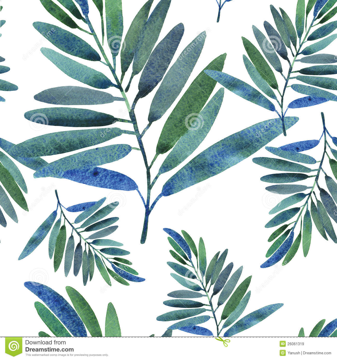 Seamless Pattern With Tropical Leaves Royalty Free Stock