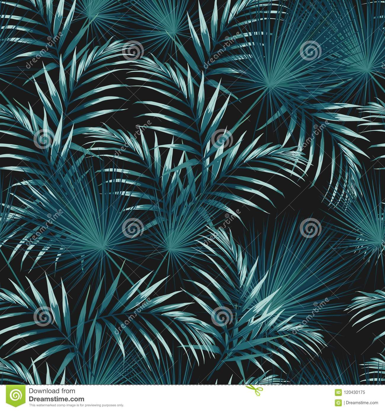 Seamless pattern with tropical leaves. Bright green palm leaves on the black background.