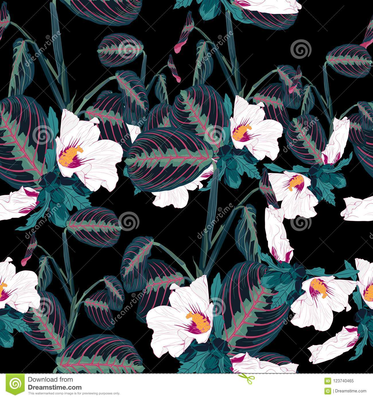 Seamless Pattern With Tropical Leaves And Exotic White Hibiscus ...