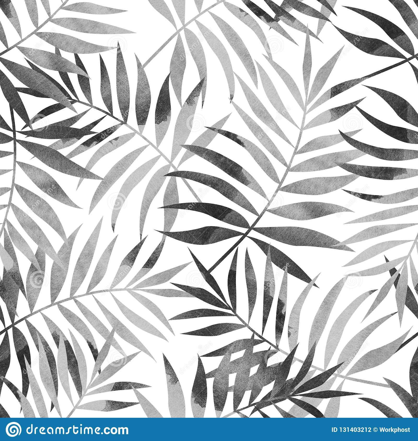 Seamless pattern with tropical palm leaves on white background. Stylish illustration