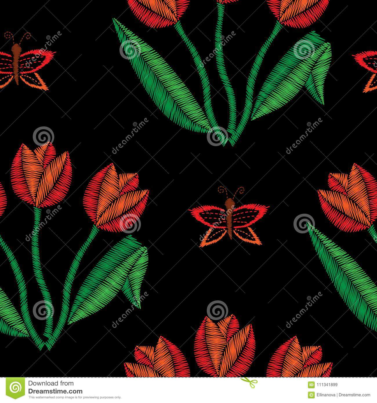 Seamless Pattern With Tulip Embroidery Stitches Imitation Stock
