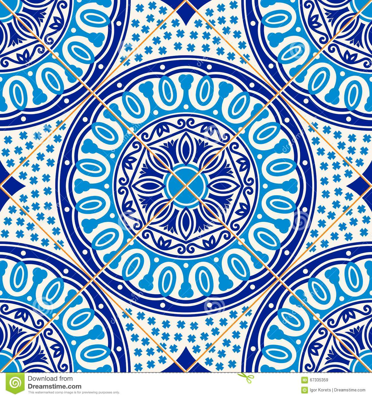 Stock Vector: Seamless pattern . Turkish, Moroccan, Portuguese tiles ...