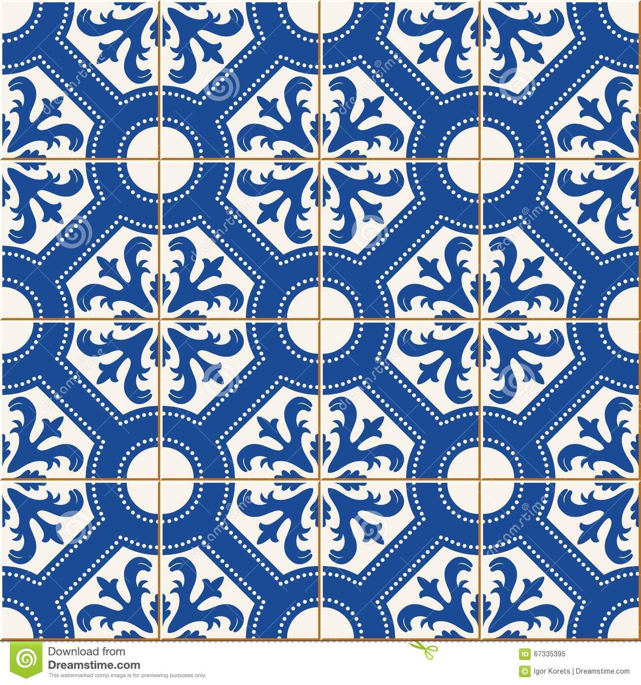 Seamless Pattern . Turkish, Moroccan, Portuguese Tiles