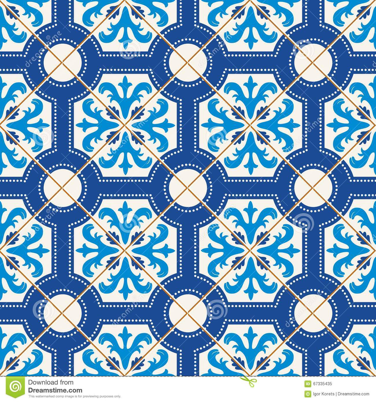 Seamless Pattern Turkish Moroccan Portuguese Tiles