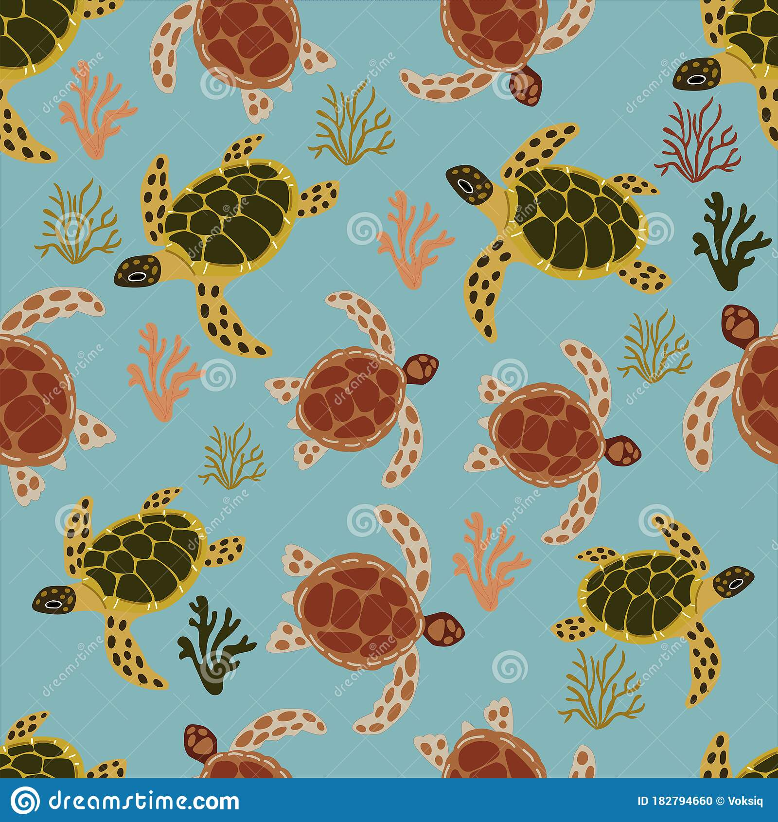 Seamless Pattern With Turtles And Sea Corals Stock Vector Illustration Of Summer Textile 182794660