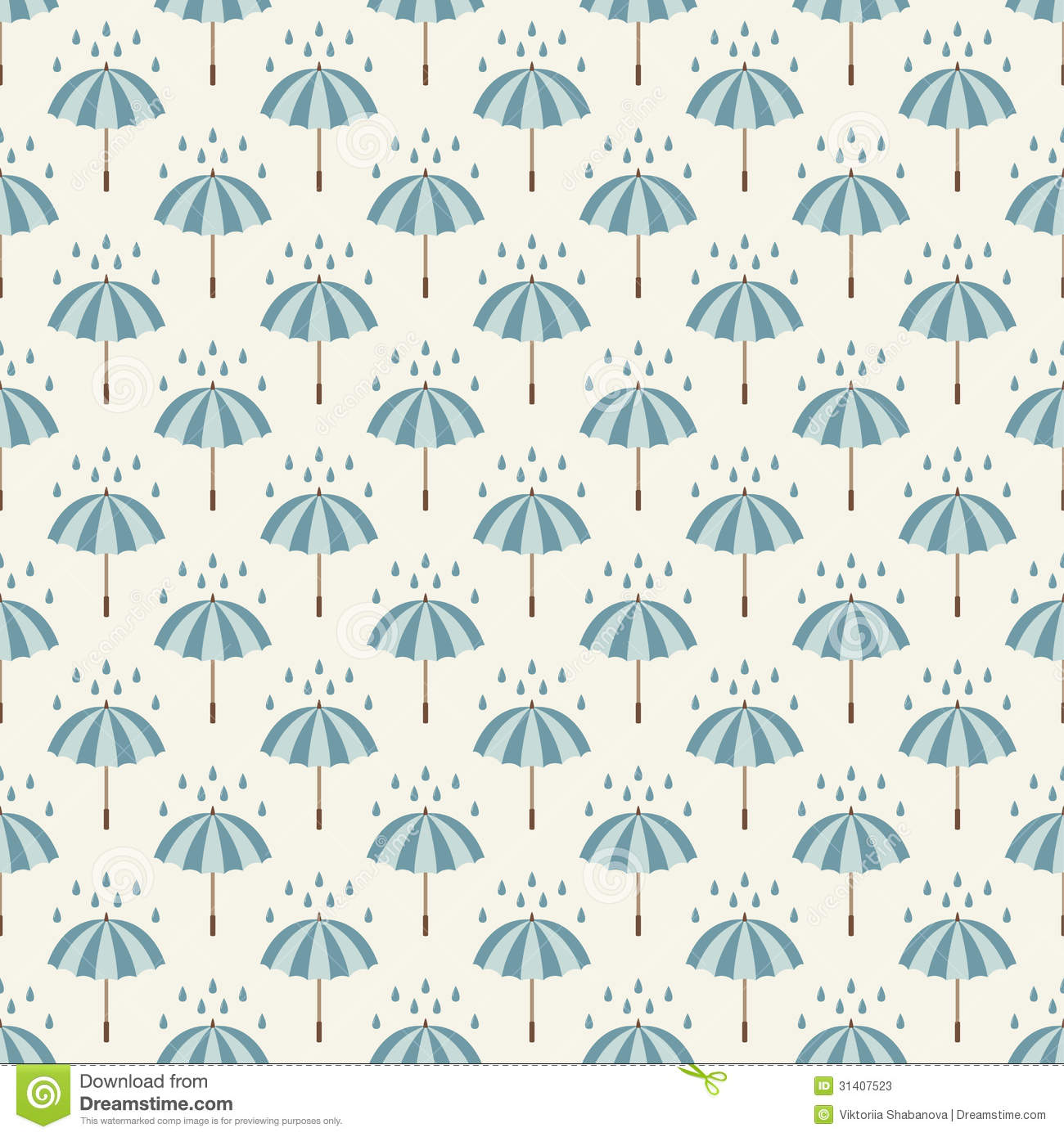 Seamless Pattern With Umbrellas And Rain Drops Stock
