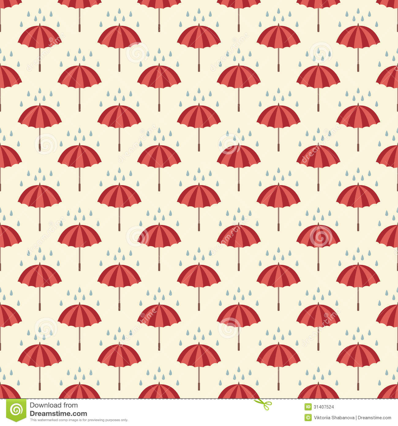 Seamless Pattern With Umbrellas And Rain Drops Stock Vector