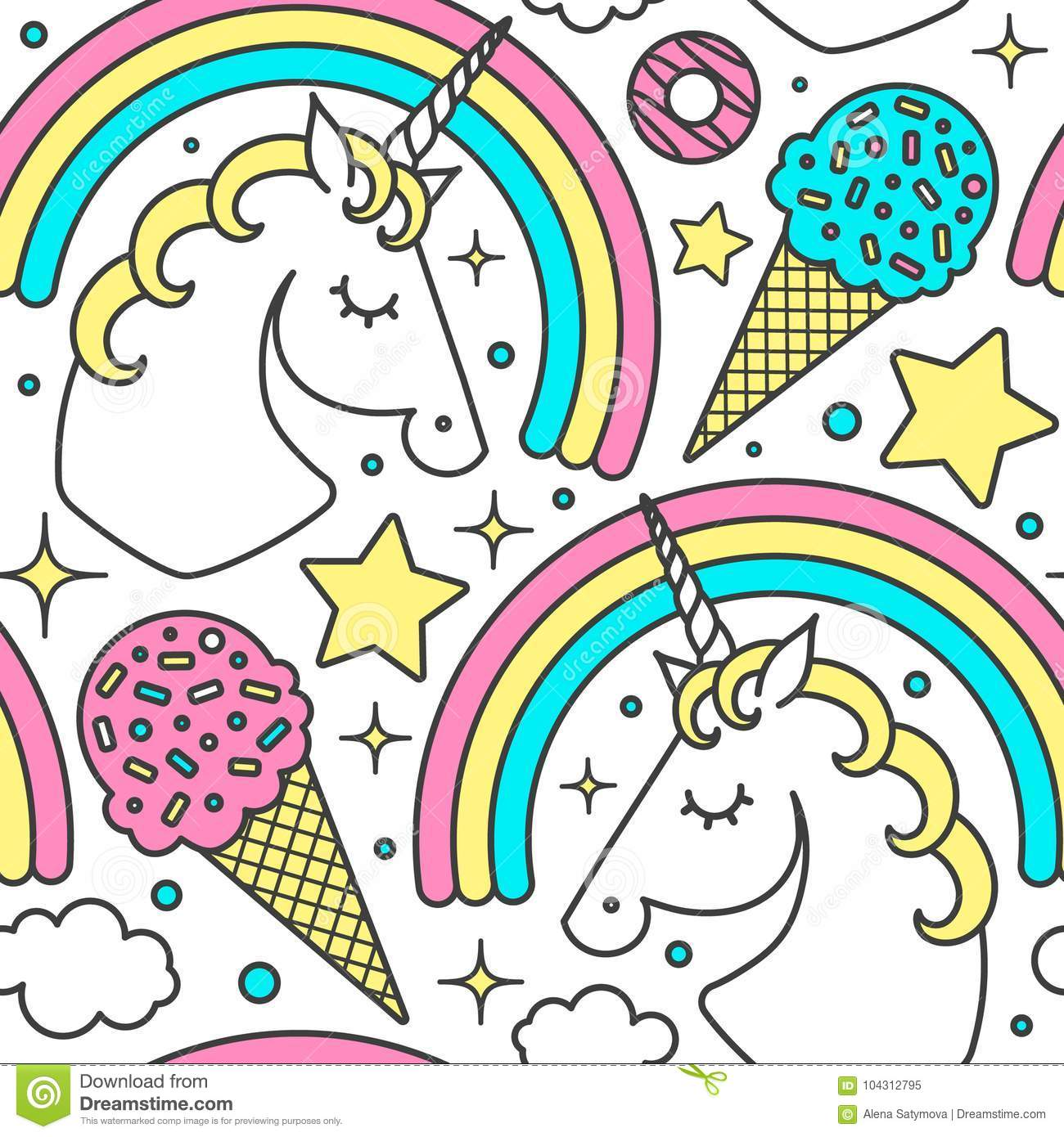 Pattern Cute Colorful Ice Cream Textiles Stock Vector: Seamless Pattern With Unicorn, Rainbow, Clouds, Stars, Ice