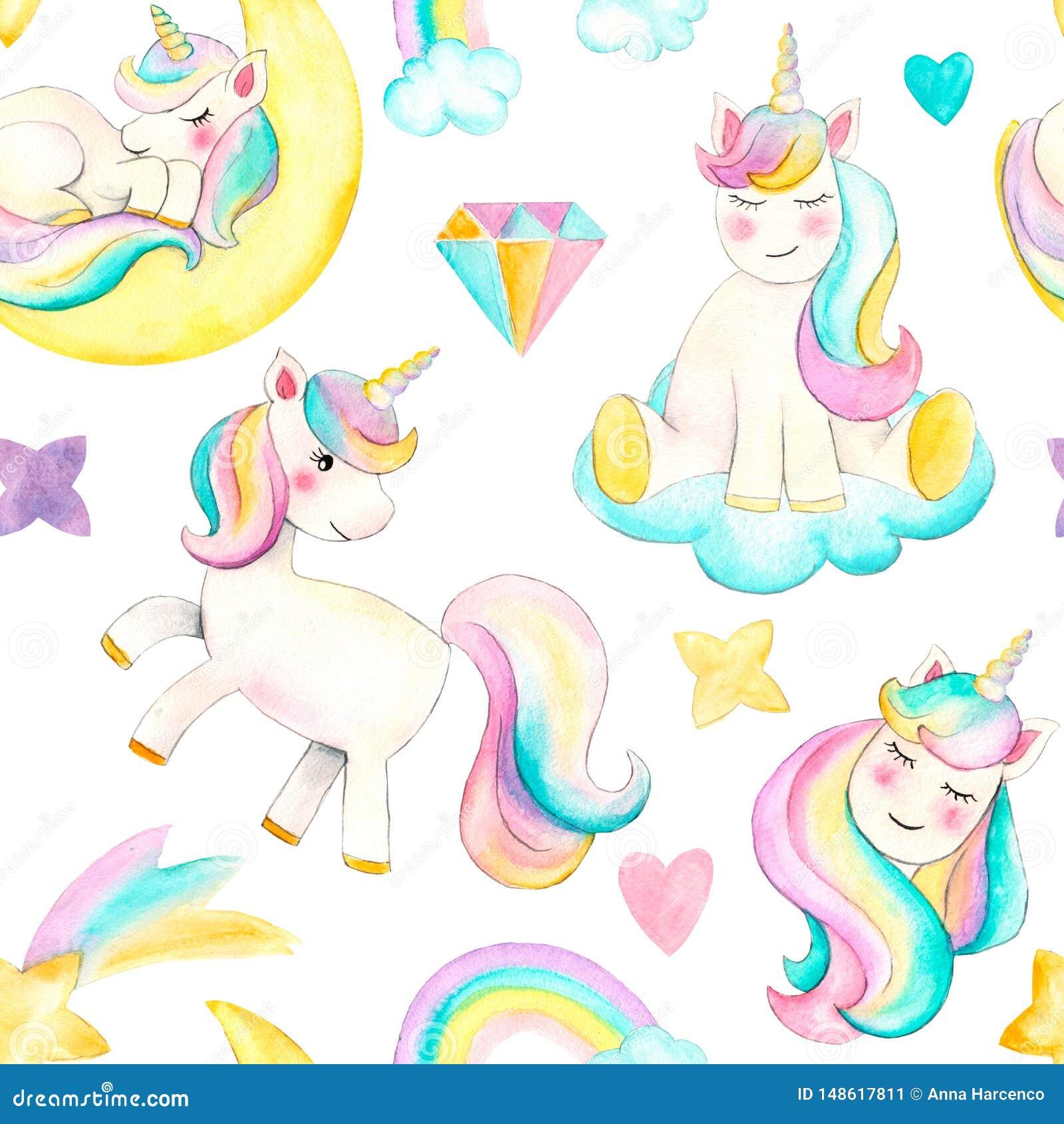 Seamless pattern with unicorns. Beautiful watercolor unicorn illustration. Magic trendy cartoon horse perfect for nursery print an