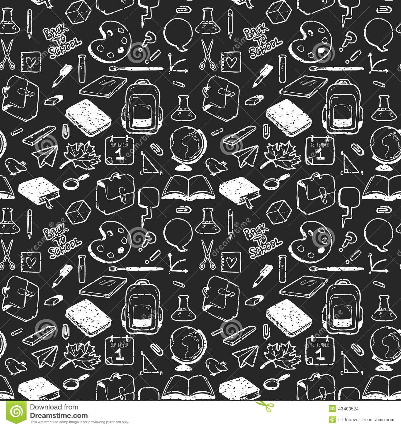 Seamless Pattern With Various Elements For School Drawn In