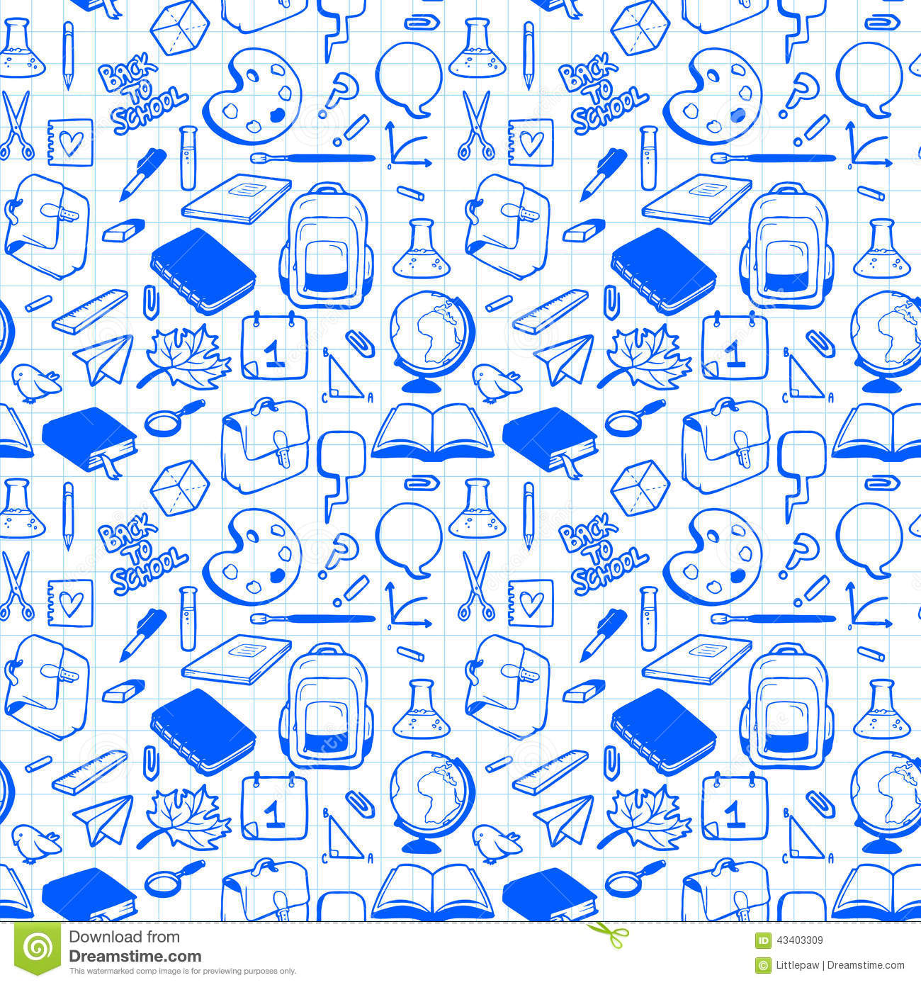 Seamless pattern with various elements for school