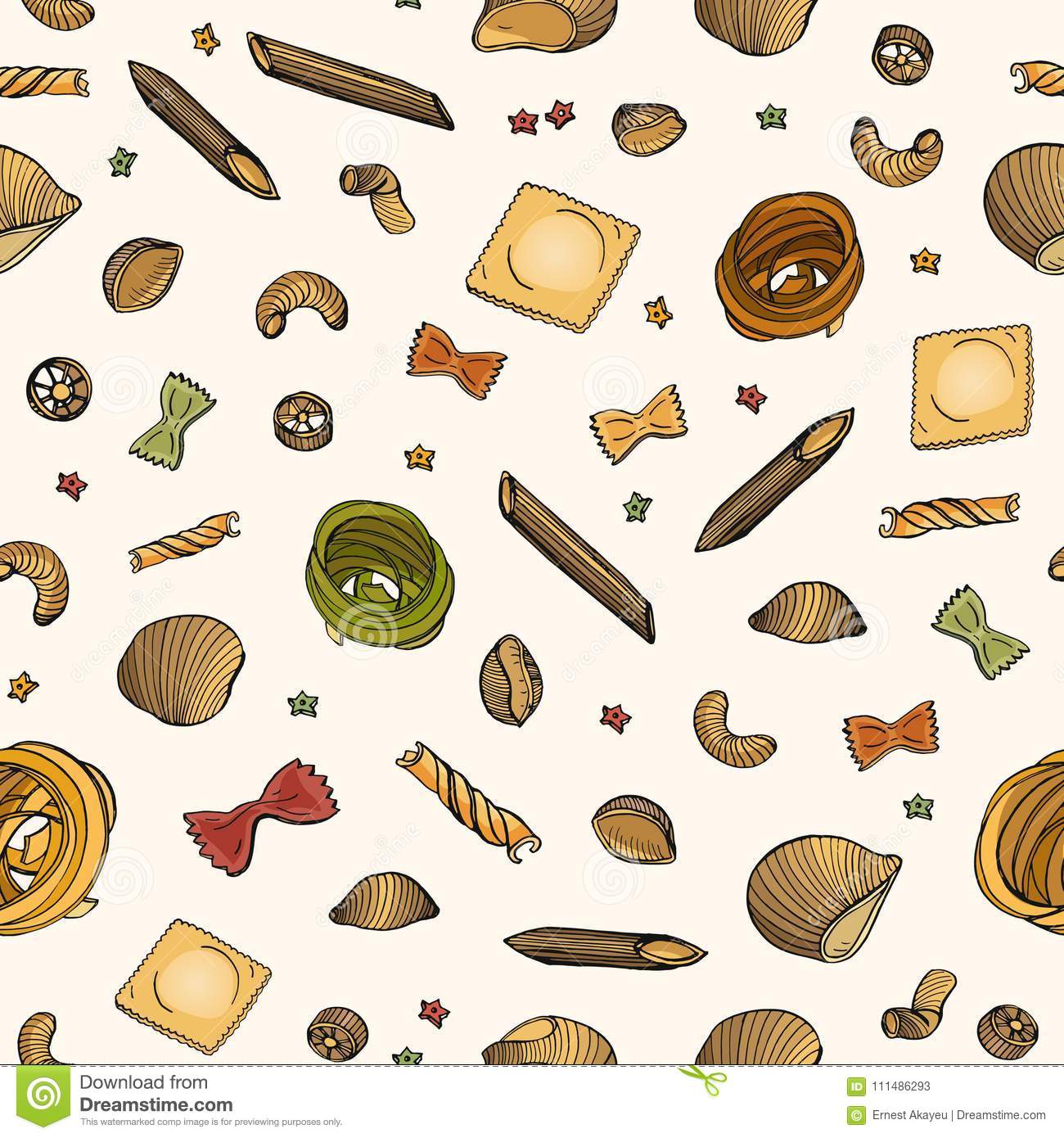 Seamless Pattern With Various Types Of Raw Pasta On Light