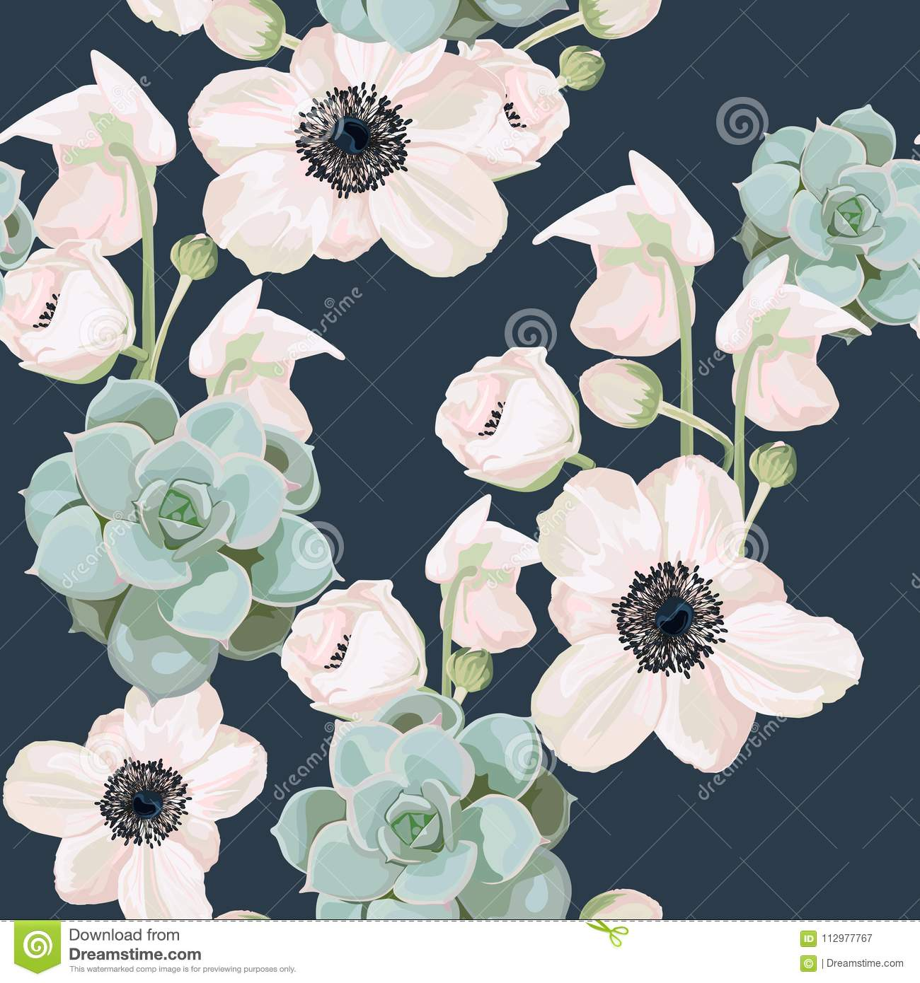 Seamless pattern with anemone and succulent background.