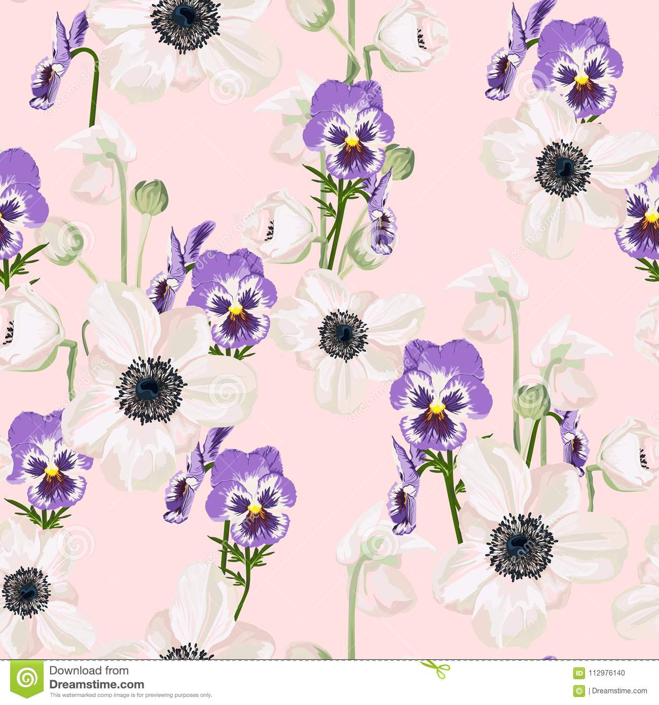 Seamless pattern with anemone and viola with pink background.