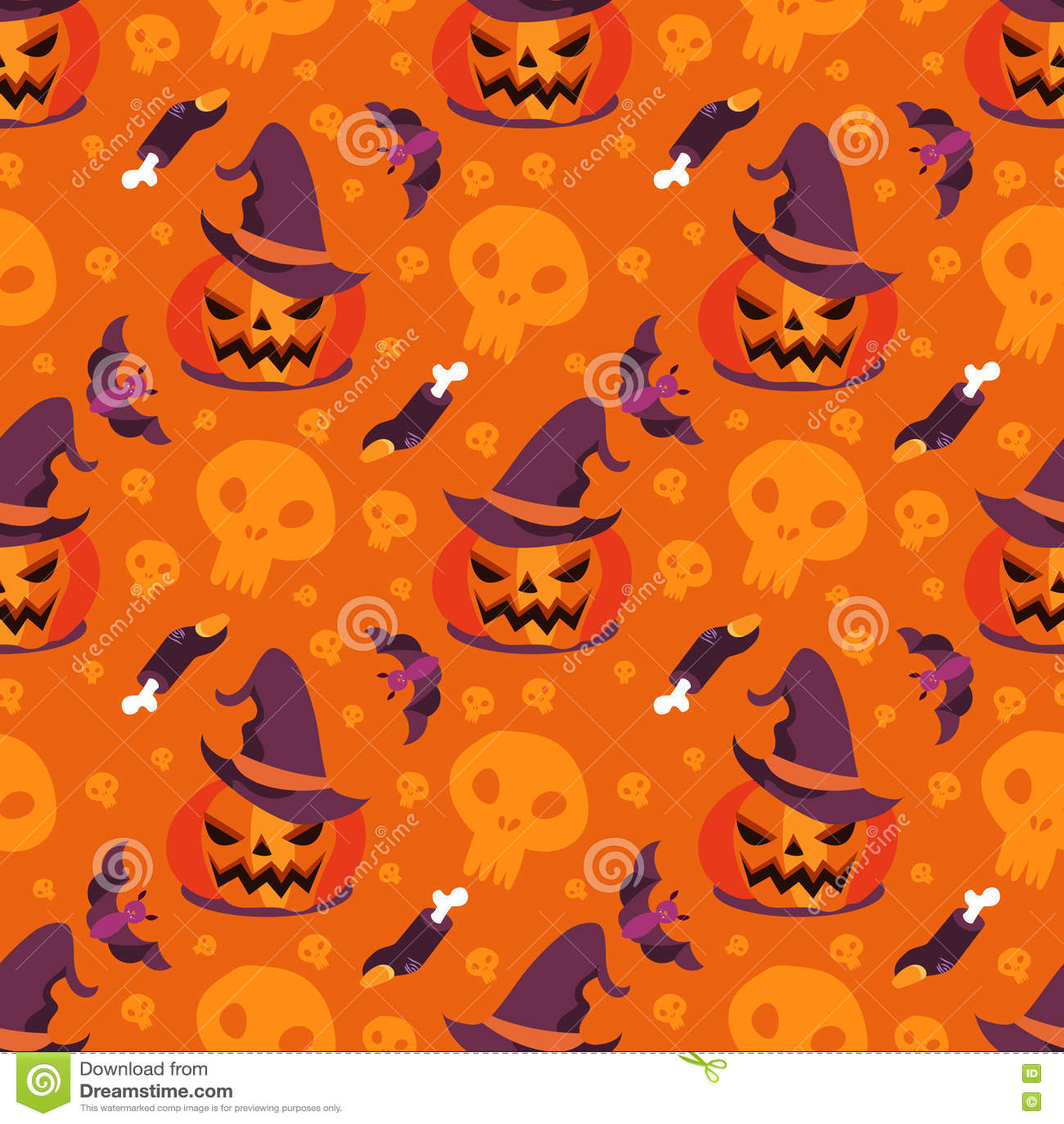 seamless pattern vector halloween witchcraft pumpkin stock vector