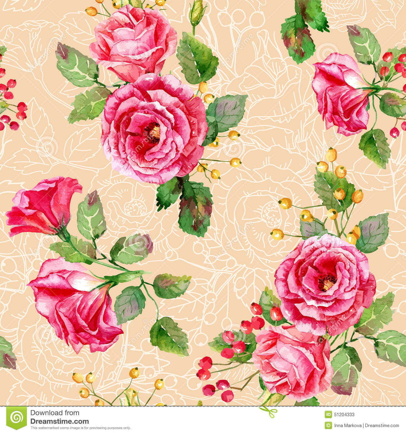 Seamless Pattern Of Vector Watercolor Red Roses Stock