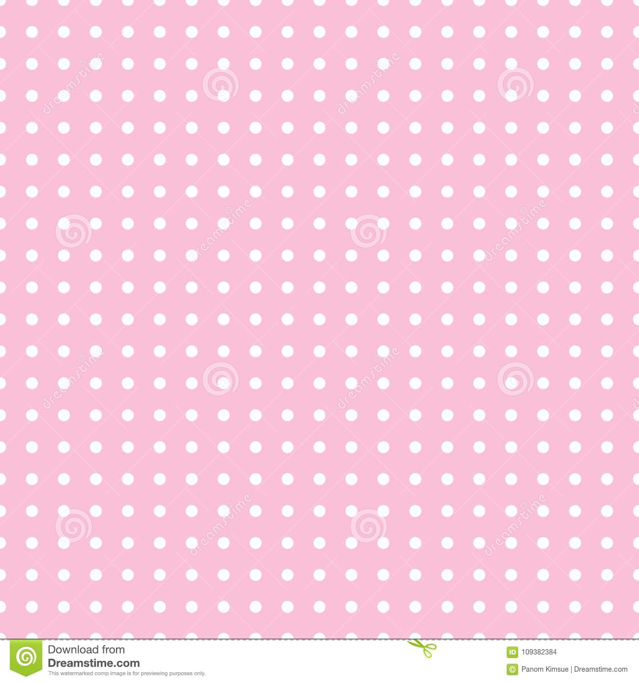 Seamless Pattern Vector With White Polka Dots On Pink Color