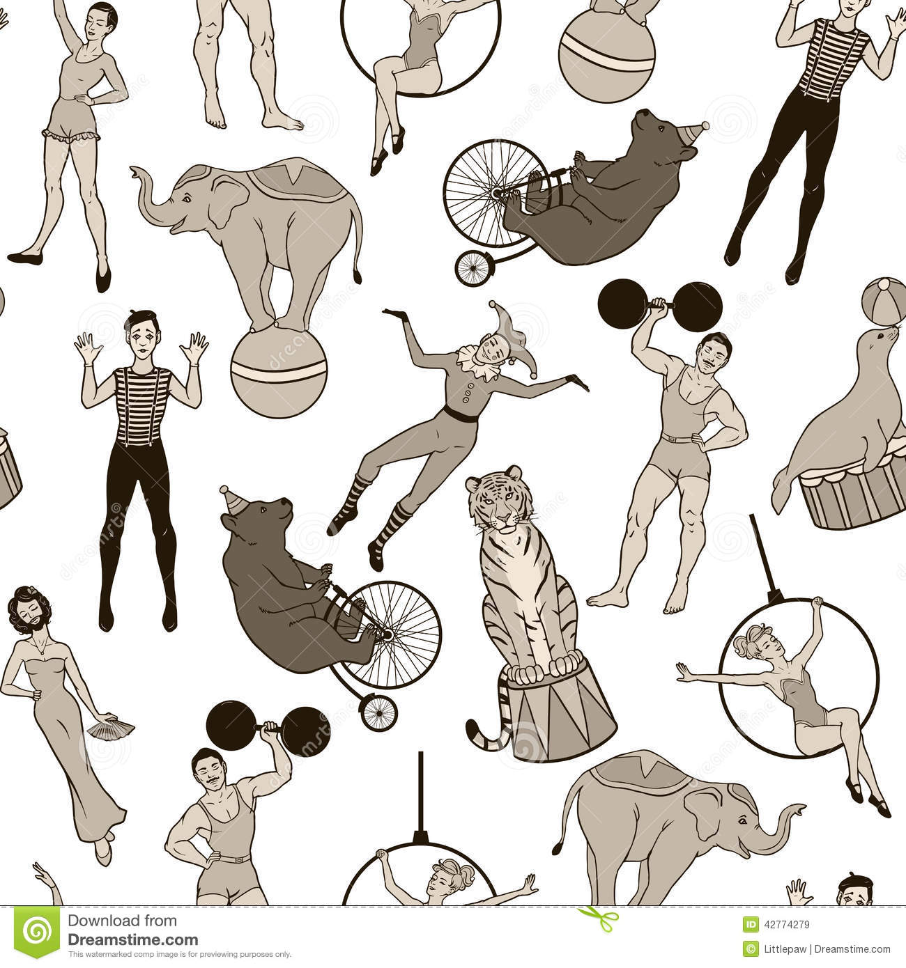 Seamless Pattern, Vintage Circus Performers And Animals