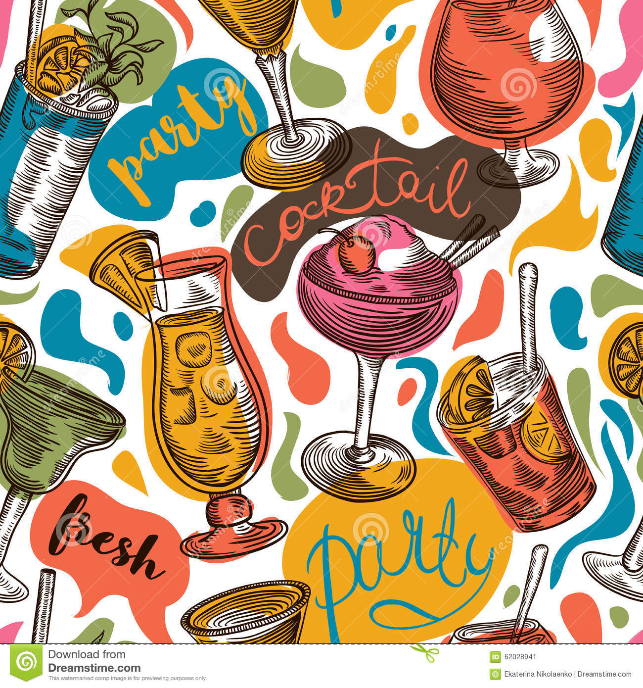 Seamless Pattern With Vintage Cocktails And Hand Drawn