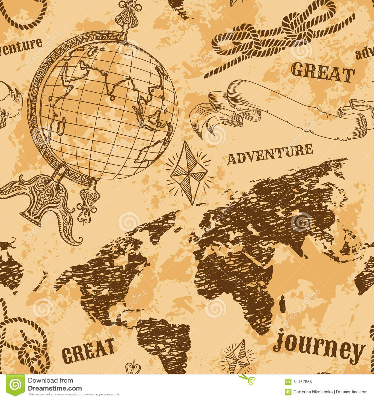 Seamless Pattern With Vintage Globe, Abstract World Map ...