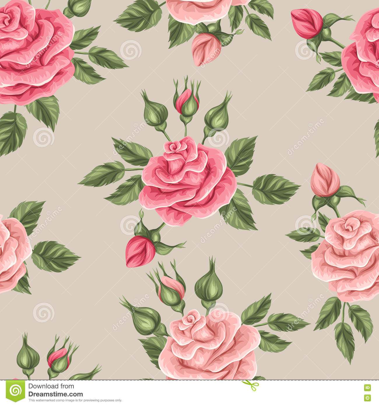 Seamless Pattern With Vintage Roses Decorative Retro