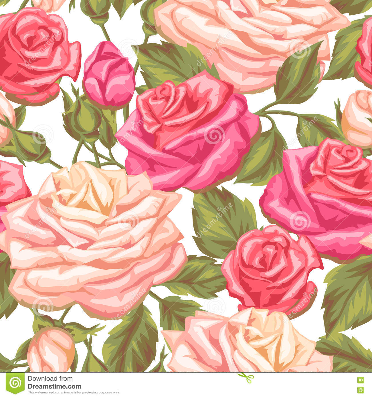 Seamless Pattern With Vintage Roses Decorative Retro Flowers Easy