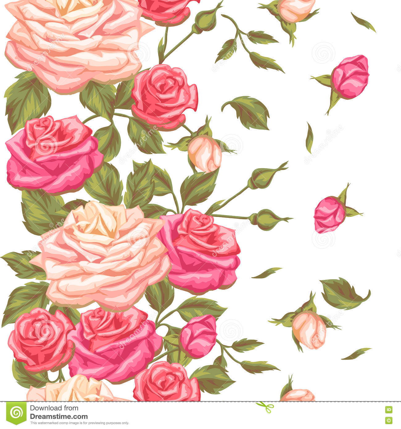 Seamless pattern with vintage roses decorative retro flowers easy seamless pattern with vintage roses decorative retro flowers easy to use for backdrop textile wrapping paper wallpaper mightylinksfo