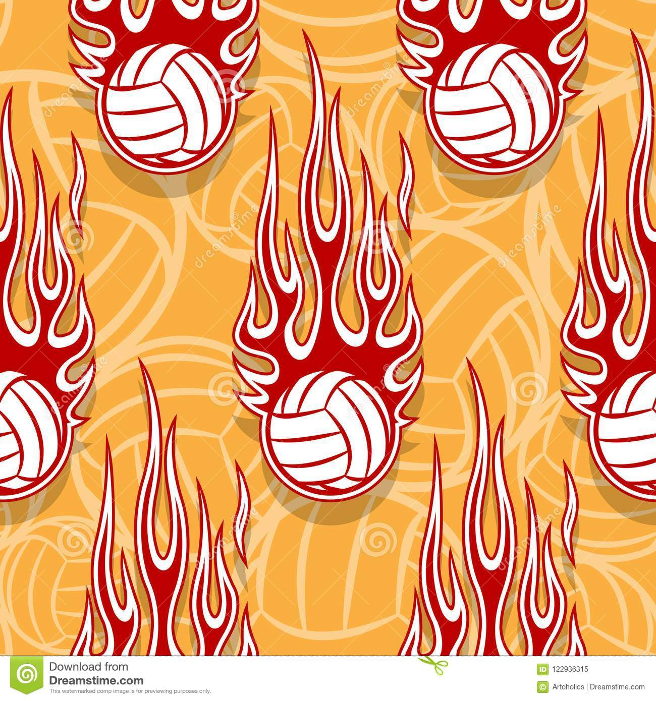 graphic about Printable Flames known as Seamless Behavior With Volleyball Balls And Flame. Inventory