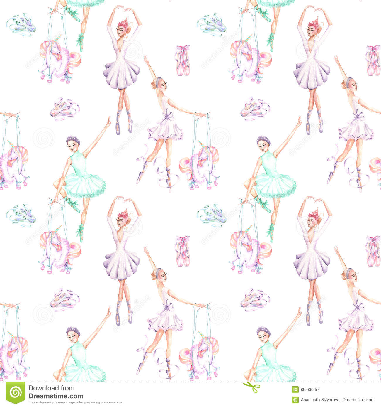 Seamless pattern of ballet dancers royalty free stock photography - Royalty Free Stock Photo Seamless Pattern With Watercolor Ballet Dancers Puppet Unicorns And Pointe Shoes Stock Illustration