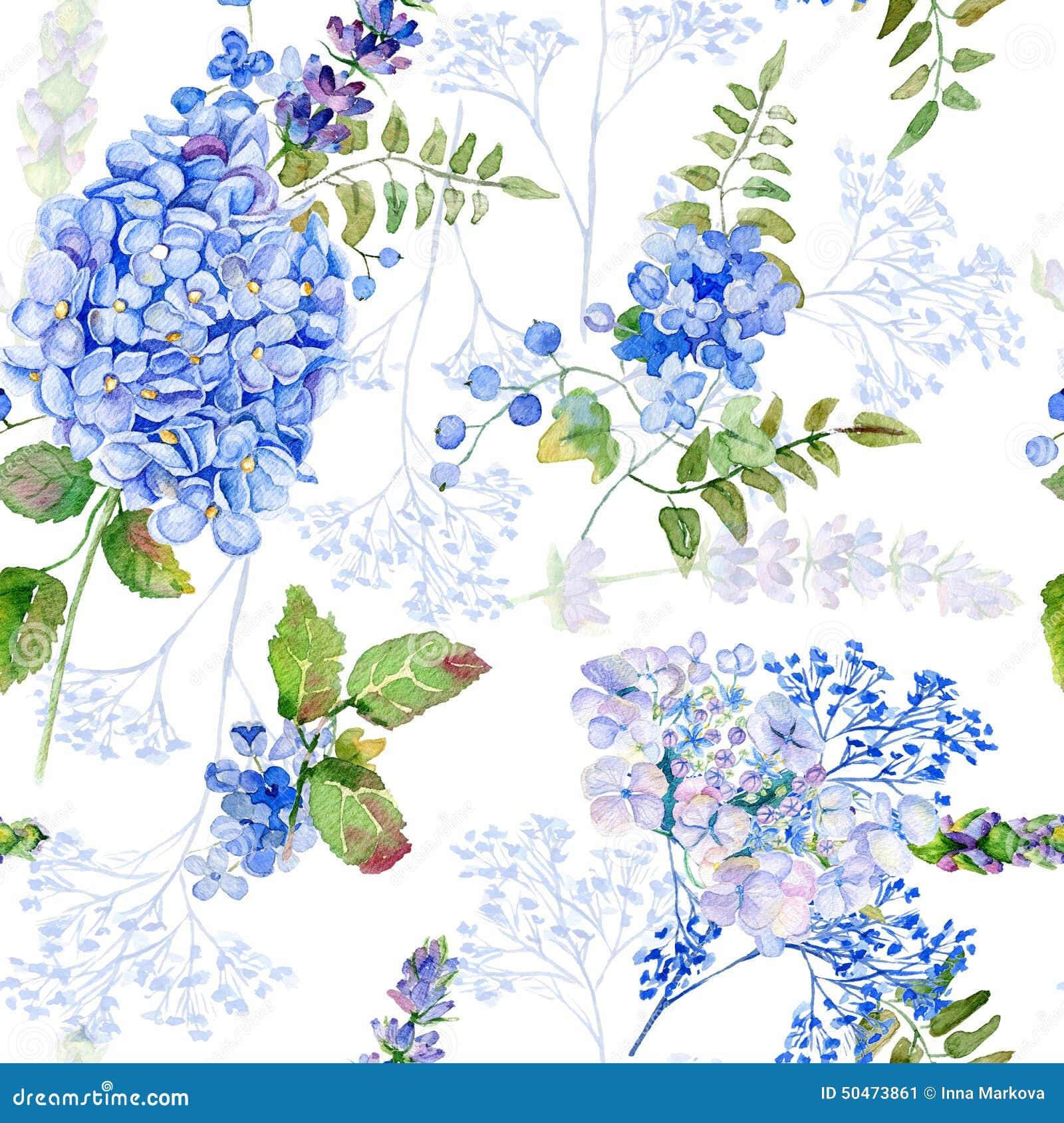 Seamless pattern watercolor blue hydrangea lavender - Papeles pintados vintage ...