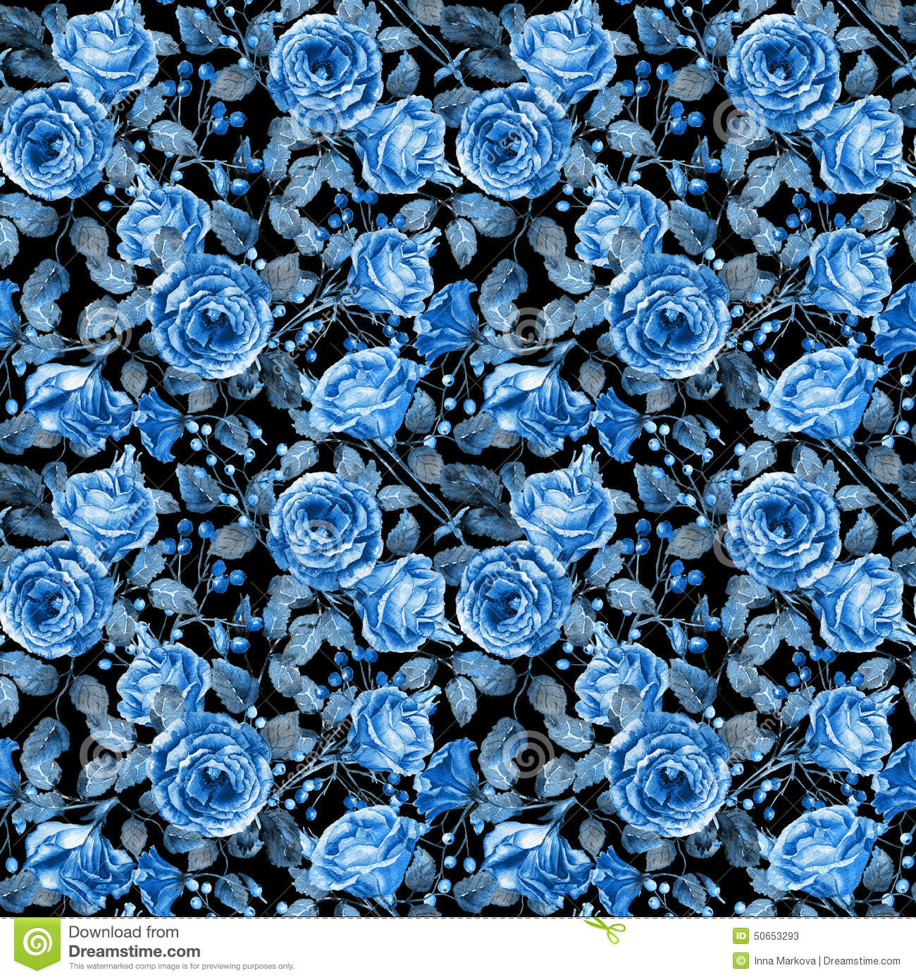 seamless pattern of watercolor blue roses on black