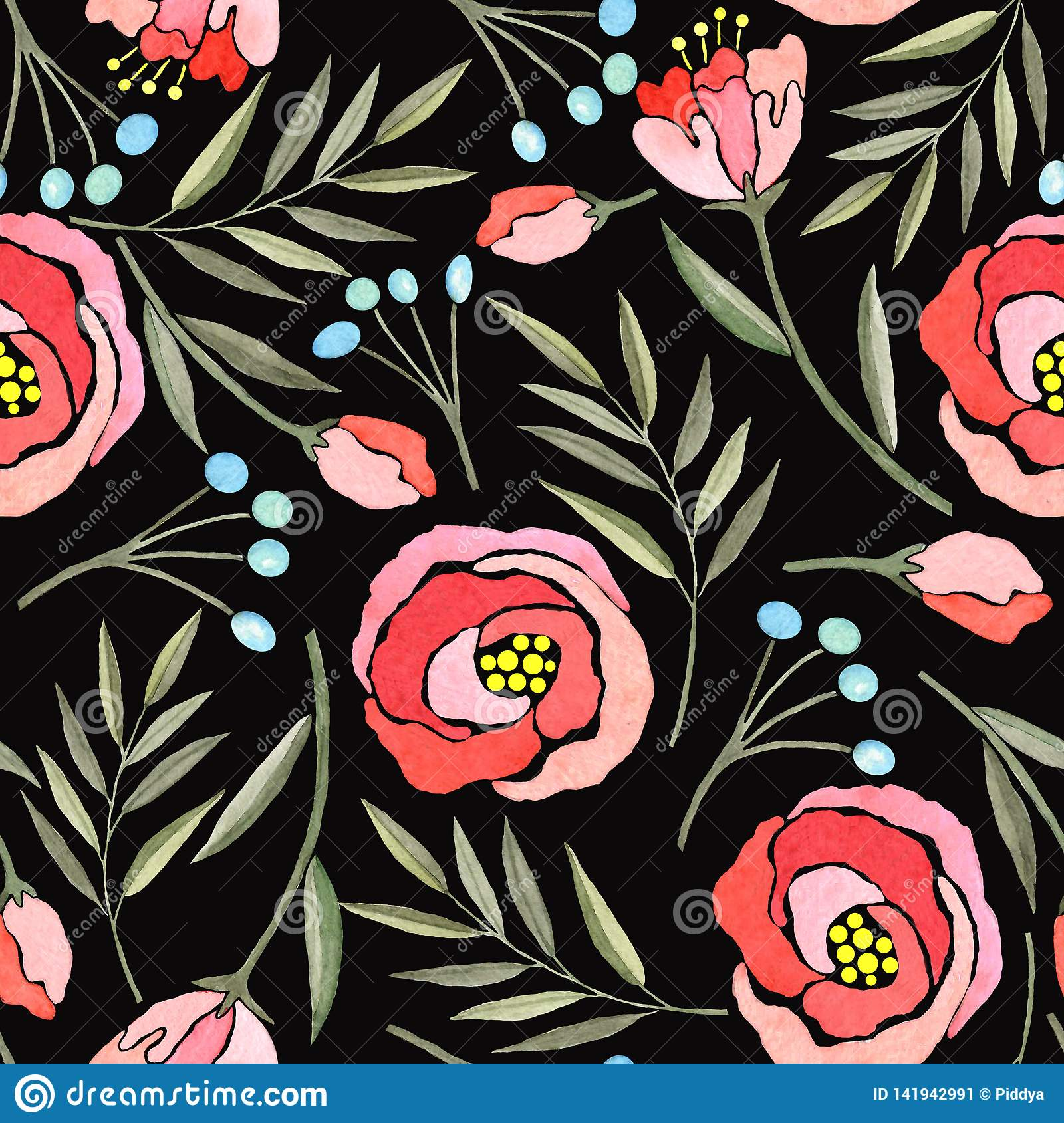 Seamless pattern with watercolor branches, flowers and berries
